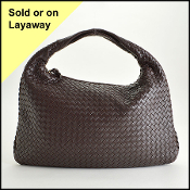 Bottega Veneta Dark Brown Intrecciato Woven Hobo Bag