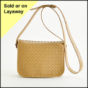 Bottega Veneta Camel Intrecciato Woven Leather Flap Crossbody