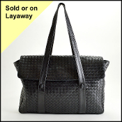 Bottega Veneta Black Intrecciato Weave Work Tote w/Zip Portfolio