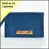 Chloe Blue Leather Small Foldover Wallet