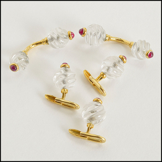 Carved Rock Crystal/Cabachon Rubies/18k Gold Cufflinks & Buttons