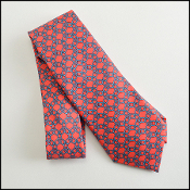 Hermes Coral Red/Turquoise Round Chainlinks Silk Tie 7075OA