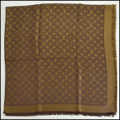 Louis Vuitton LV Monogram Brown and Gold Shine Shawl