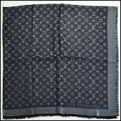 Louis Vuitton LV Monogram Black and Silver Shine Shawl
