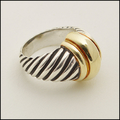 Size 6 David Yurman Sterling Silver and Gold Cable Dome Ring