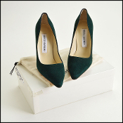 Size 37 Manolo Blahnik Dark Green Suede Pumps