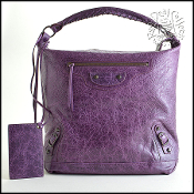 Balenciaga Raisin Purple Lambskin Classic Day Hobo Bag