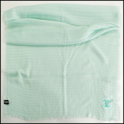 Chanel 2016 Cruise Mint Green Cashmere Stole Large Scarf