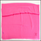 Chanel Perfect Pink Cashmere Stripes & Circle Logo Long Scarf