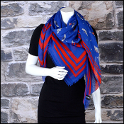 Chanel Airlines Royal Blue/Red Polkadots & Wing Pins Shawl