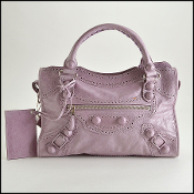 Balenciaga Lilac Lambskin Brogues 21mm Covered Giant HW City Bag
