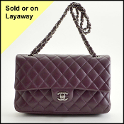 Chanel Eggplant Lambskin 2.55 Quilted Classic Double Flap Bag