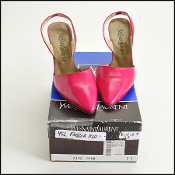 Size 7 Yves Saint Laurent YSL Fuschia Leather Slingback Heels