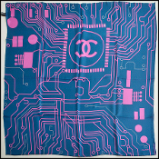 Chanel Orange & Blue Computer Chip Reversible 90 cm Silk Scarf