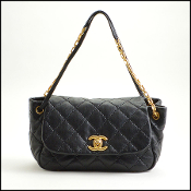 Chanel Black Leather Retro Chain Quilted Shoulder Bag