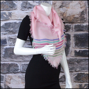Chanel Pink/Multi CC Stripes Sporty Cashmere Square Scarf