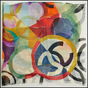 Chanel Multi Color Water Color Flower & Circles Silk Blend Shawl