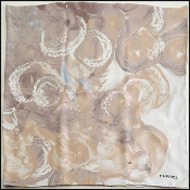 Chanel Brown/Ivory/Blue Abstract Silk Twill Large Scarf Shawl