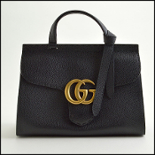 Gucci Black Pebbled Leather GG Marmont Top Handle Bag