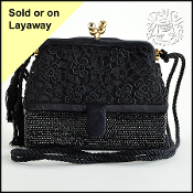 Judith Leiber Jet Black Satin Lace and Crystal Evening Bag