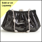 Judith Leiber Black Vintage Python and Crystal Clasp Evening Bag
