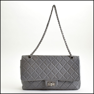 Chanel Grey Quilted Leather 227 Reissue Jumbo Double Flap Bag