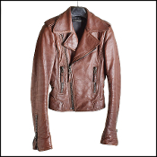 Size 34/XS Balenciaga Havana Brown Leather Biker Moto Jacket