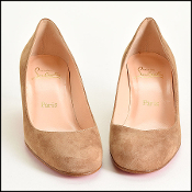 Size 38 Christian Louboutin Light Brown Suede Kitten Heel Pumps
