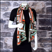 Fendi Spearamint/Multi Zucca Stolla Printed Chalks Silk Stole