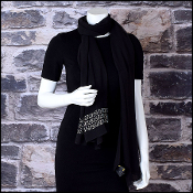 Fendi Black Crystal Applique' Silk Stole