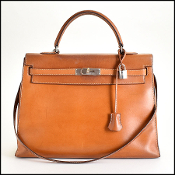 RARE Hermes Vintage Barenia Leather Kelly Sellier 35cm w/ Strap