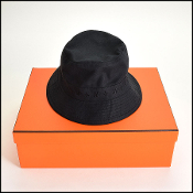 Size 59 Hermes Black Bucket Hat