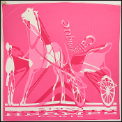 Hermes Pink Rose Shocking La Caleche Elastique Square Scarf