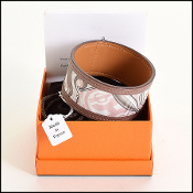 Size XS/S Hermes petit h Pink Silk & Leather Cuff Bracelet