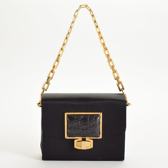 Balenciaga Black Satin Evening Bag with Crocodile Clasp