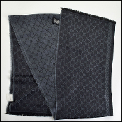 Gucci Charcoal Grey & Black GG Monogram Wool Stole