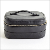 Chanel Black Quilted Lambskin Leather Vanity Case