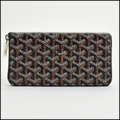 Goyard Black & Brown Goyardine Zip Around Wallet