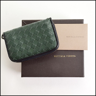 Bottega Veneta Green/Black Intrecciato Coin Purse Card Wallet