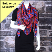 Salvatore Ferragamo Red & Purple Paisley Shawl