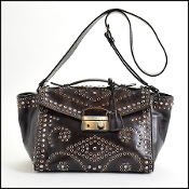 Prada Dark Brown/Black Vitello Vintage Studded Trapeze Bag