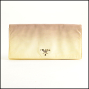 Prada Taupe Ivory Ombre Patent Large Clutch