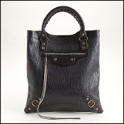 Balenciaga Black Pebbled Caribou Leather Flat Brass Tote Bag