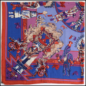 Hermes Kachinas by Kermit Oliver Cashmere Scarf/Shawl
