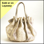 Nancy Gonzalez Ivory/Brown Python Bag