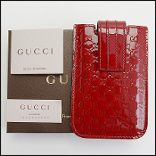Gucci Red Patent Guccissima iPhone 4/5/6 Case Holder
