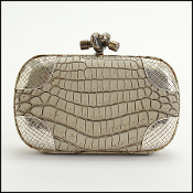 Bottega Veneta Ecru Crocodile & Intrecciato Corners Knot Clutch