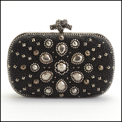 Bottega Veneta Black Galuchat Stingray Studded Knot Clutch