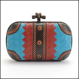 Bottega Veneta Brown/Turquoise Blue/Red Woven Knot Clutch Bag