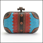 Bottega Veneta Blue/Red Woven Knot Clutch